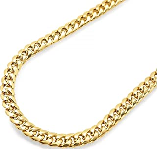 14K Yellow Gold Miami Cuban Link Chain Necklace with Box Lock Clasp 6.0MM-8.0MM Thick