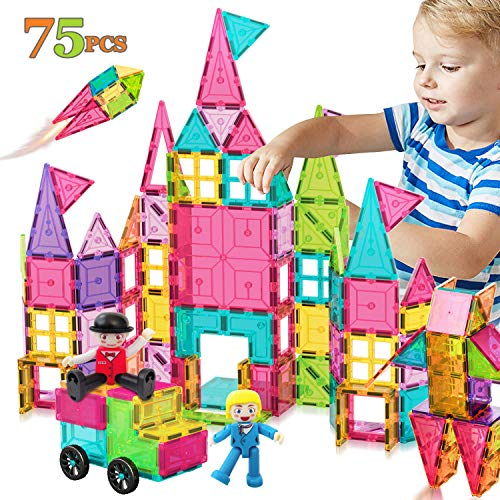 ACTRINIC Kids Magnet Tiles Toys 75Pcs Oversize 3D Magnetic Building Blocks Tiles Set,Building Construction Educational STEM Toys for 3 4 5 6 Year Old Boys Gilrs Gifts(Stronger Magnets)