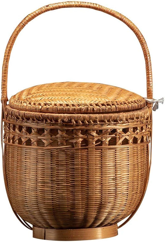 Liutao Picknickkrbe Handgemachte Bambus Picknickkrbe mit Deckel tragbare Lebensmittel Aufbewahrungskrbe Camping Shopping Geschenkkrbe Boxen & Truhen Langlebig Picknickkrbe