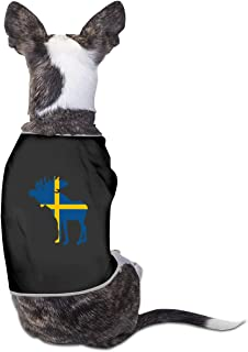 RSADGER Pet Clothing Swedish Flag and Moose Logo Printed T Shirts Dogs Summer Vest Puppy Pet Shirt