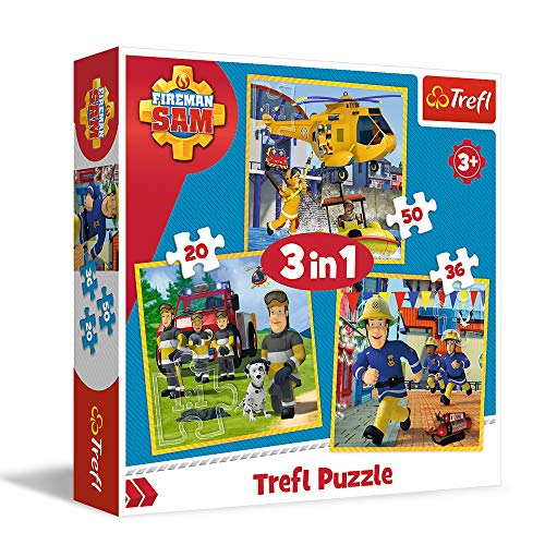 Trefl- Feuerwehrmann in Aktion, Fireman Sam Von 20 bis 50 Teilen, 3 Sets, für Kinder AB 3 Jahren Caja de Puzzle, Multicolor (5900511348446)