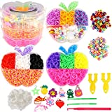 Loom Bracelet Making Kit Rainbow Rubber Bands Loom Bracelet Maker Kit in Apple Shape 3 Layers Stackable with Cover, 6400 Loom Bands, 100 S-Clips, 10 ABC Beads, 10 Charms, 3 Crochet Hook, 2 Y Loom