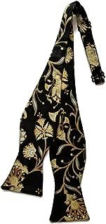 Mens Self-tie Bow Tie Black Gold Metallic Oriental Floral (Mens, Black Gold)