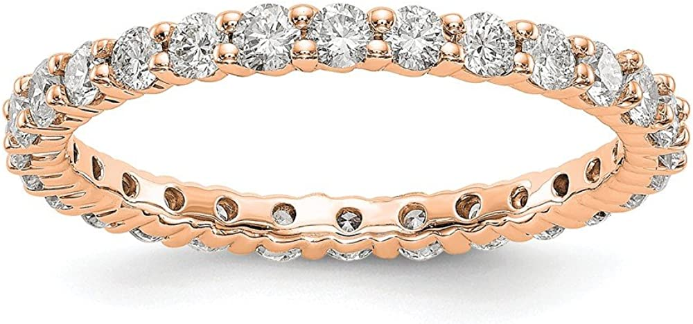 Solid OFFicial site Jacksonville Mall 14k Rose Gold 1ct Diamond Band Wedding Eternit Anniversary