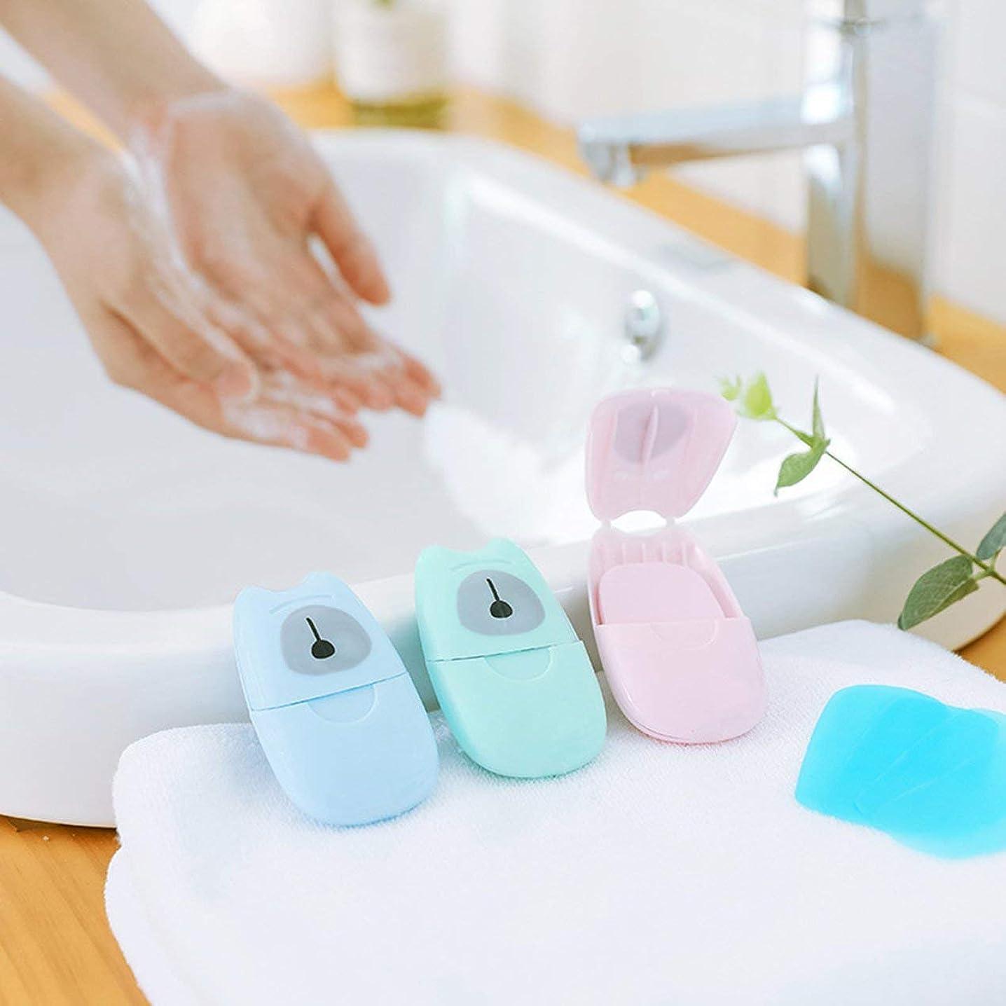 海洋の活性化するブランク箱入り石鹸紙旅行ポータブル屋外手洗い石鹸の香りのスライスシート50ピースプラスチックボックス付きミニ石鹸紙(色:緑)
