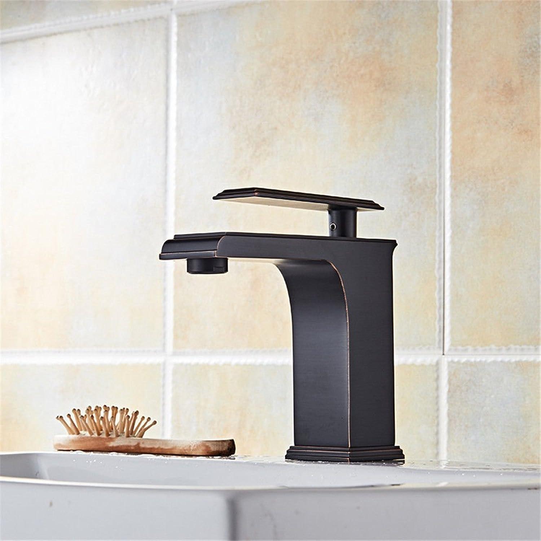 MNLMJ Moderne einfache kupferne heie und kalte Spülbecken Wasserhhne Küchenarmatur Head-up-einfacher Wasserhahn antiker Ausgang Beckenwasserhahn Kupferhahn Geeignet für alle Badezimmer-Spülbecken