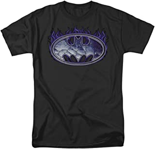 Batman Cracked Shield - Camiseta para Adulto con Licencia de Llamas moradas