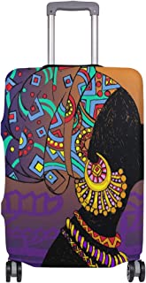 Mydaily Beautiful African Woman Luggage Cover Fits 18-32 Inch Suitcase Spandex Travel Baggage Protector