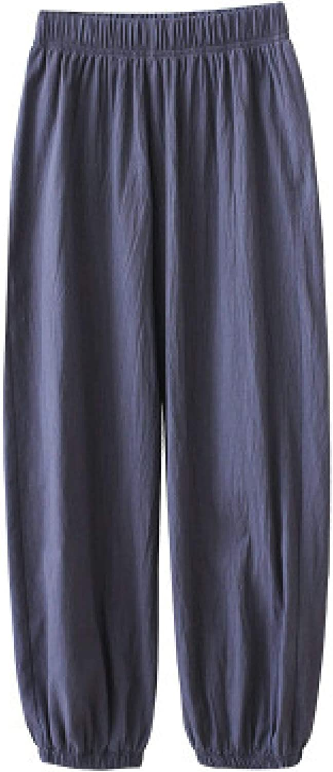 Ladies Elasticated Stretch Personality Trend Casual Pants Solid Color Beam Feet
