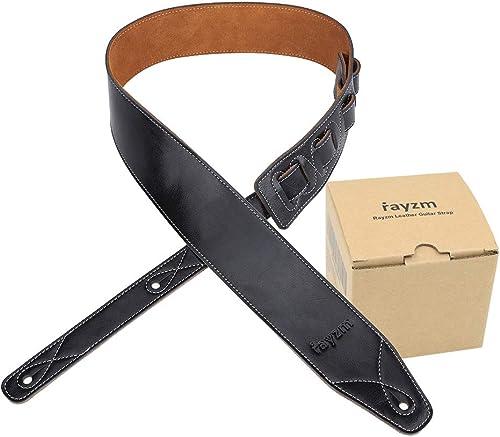 Rayzm sangle de guitare et basse en doublure daim, ceinture de qualité en cuir véritable pour guitare acoustique/élec...