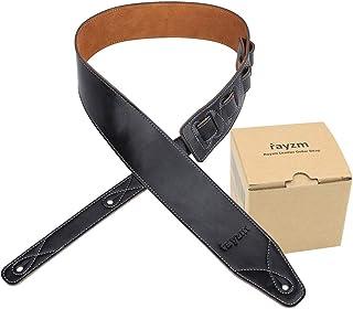 Rayzm sangle de guitare et basse en doublure daim, ceinture de qualité en cuir véritable pour guitare acoustique/électriqu...