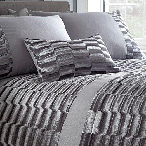 Portfolio Murray Crushed Velvet Boudoir Oblong Filled Scatter Cushion, Polyester, Stone Grey, 32 x 5 x 50 cm