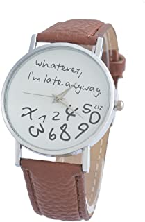 Souarts Brown Strap Dial Whatever I Am Late Anyway Artificial Leather Quartz Round Watch