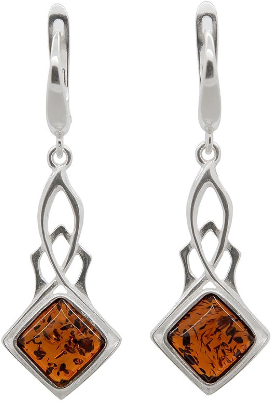 Amber Gift Amber Modern Earrings Romantic Amber Dangle Earrings Amber And Sterling Silver Earrings Natural Cognac Baltic Amber Earrings