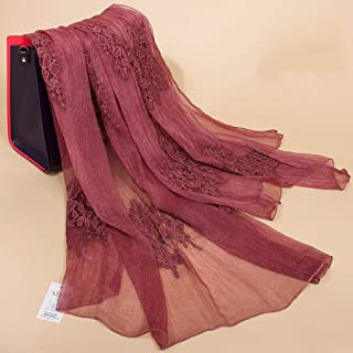 YANGBM 12m Silk Scarf Embroidered Silk Scarf Sunscreen Shawl Windshield Decoration 175cm×80cm (Color : E)