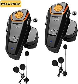 HuanGou Helmet Bluetooth Headset, BT-S2 Motorcycle Bluetooth Intercom Headset up to 3 Riders 1000M Bluetooth Helmet Headphones Speakers Communication Systems Ski Walkie-Talkie for Snowmobile (2 Pack)