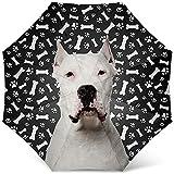 Paraguas de Perro de diseño con Estampado de patrón de Perro Argentino de Dogo - Paraguas Plegable de Viaje a Prueba de Viento Paraguas de Golf - Regalos para mamá de Perro Genial