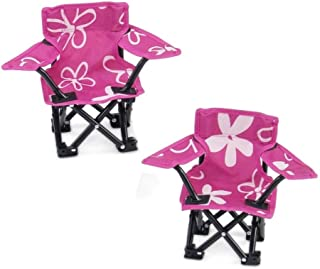Emily Rose 18 Inch Doll Accessories   Awesome Pink and White Flowered Camping Sports Chairs, Includes Matching Carry / Storage Case   Fits American Girl Dolls