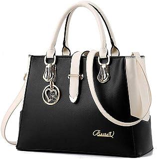 BestoU Damen Handtaschen Schwarz groß taschen Leder moderne damen handtasche gross schultertasche Frauen Umhängetasche Schwarz
