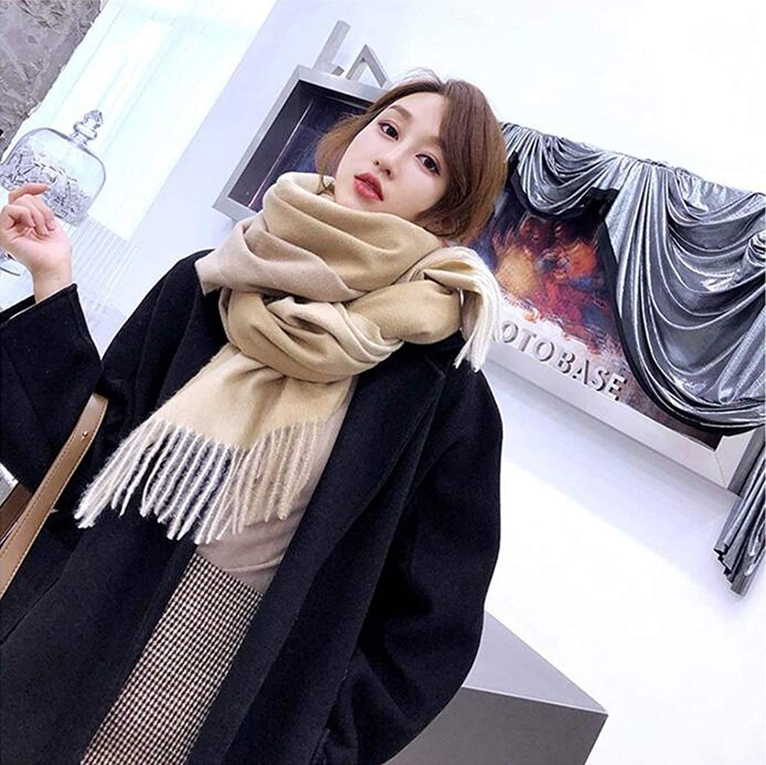 JUN Autumn and Winter New Cashmere Scarf Female Thick Warm Korean Version of The Gradient color Long Dualuse Wild Shawl (color   B)