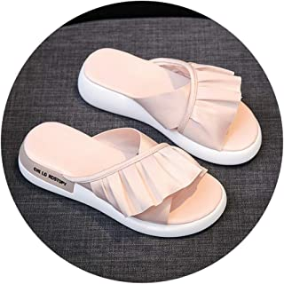 Slippers Sandals And Slippers Women Wear 2020 New White Sandals Summer Thick Bottom Non-slip Wear-resistant Ladies Fashion Go Wild Slippers (Color : Pink, Size : 35)