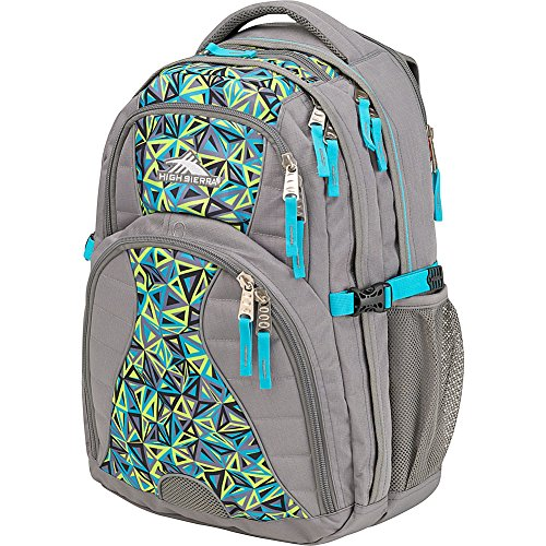 High Sierra Swerve Laptop Backpack, Charcoal/Electric Geo/Tropic Teal