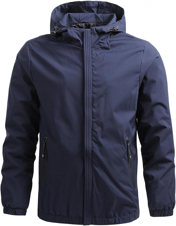 Huangse Men's Lightweight Softshell Coat Solid Color Sportswear Zipper Windbreaker Flight Bomber Jacket Autumn Hooded Jacket
