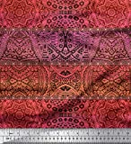 Soimoi Orange Seide Stoff Streifen & Mandala Kaleidoskop