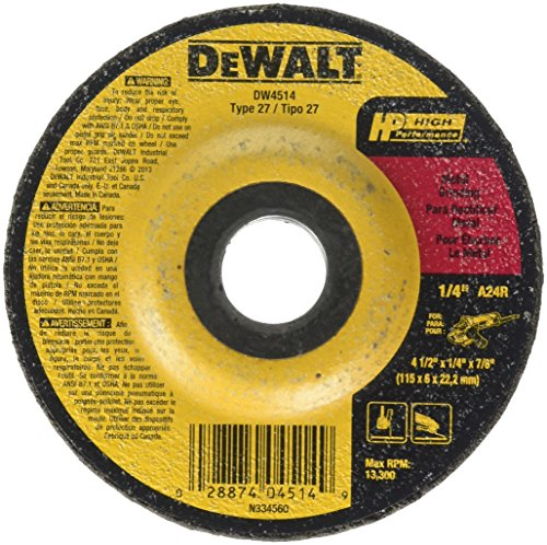 DEWALT DW4514 1/4' Thick Grinding Wheel with 4-1/2' Diameter and 7/8' Arbor