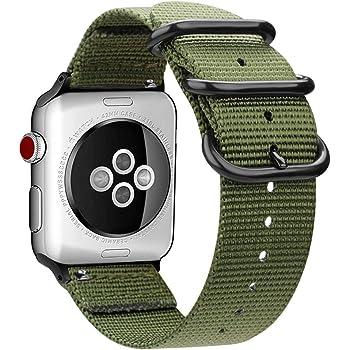MaKer編まれたナイロンiWatchバンドNATOループバックル付きに対応しますApple Watch Series 5/4/3/2/1(44mm/42mm,アーミーグリーン)