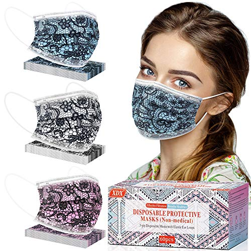 60 Pack Disposable Face Masks, Face Mask for Women with Lace Pattern Breathable 3 Layer Protection Face Mask with Adjustable Ear Loops & Nose Wire