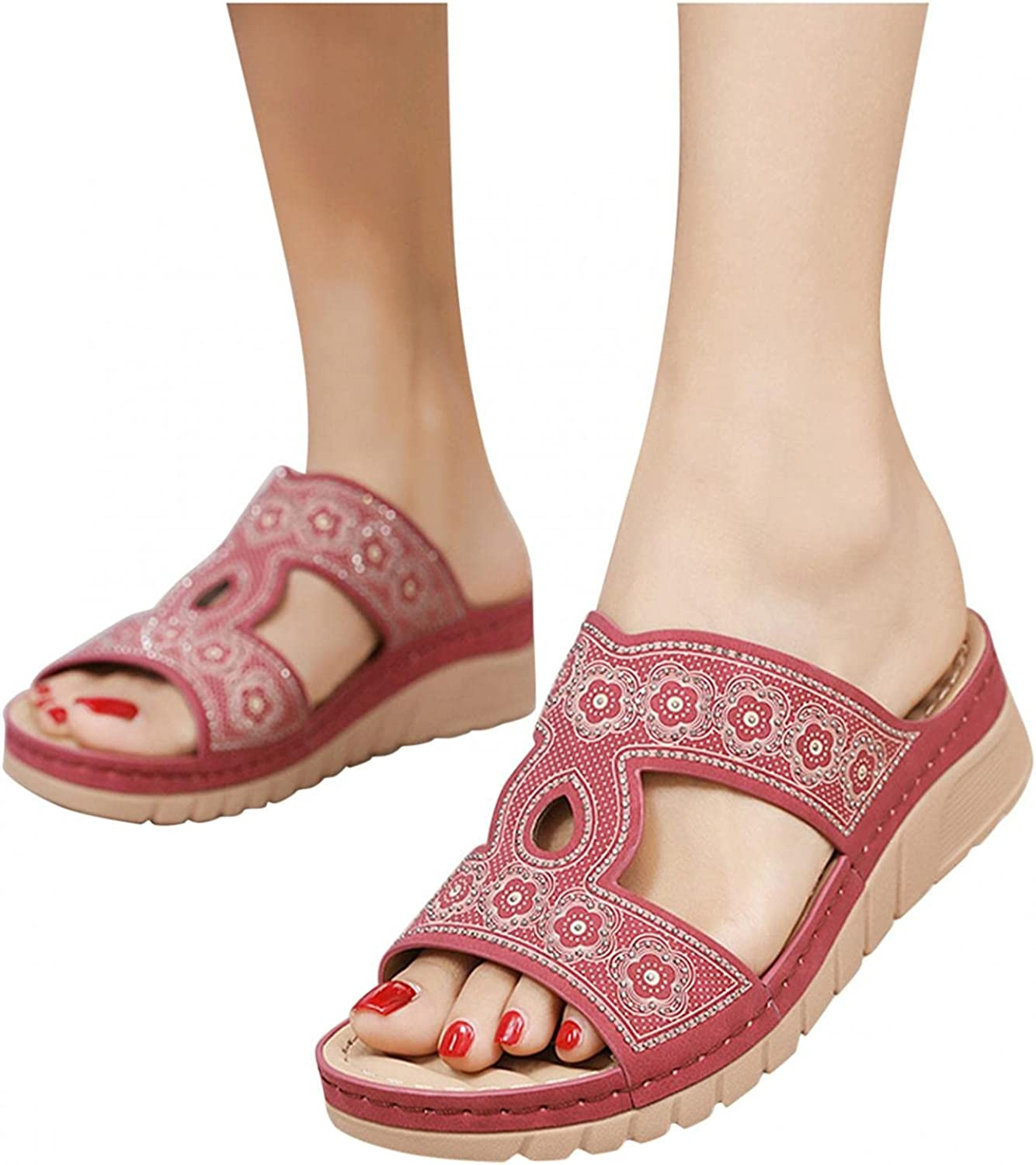 Hunauoo Slippers for Women Home Wedges Slip-On Open-Toe 5 ☆ popular Max 54% OFF