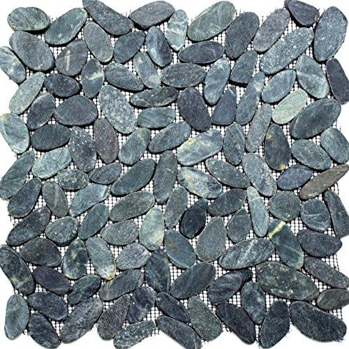 Mosaik-Netzwerk MosaikflieseKiesel geschnitten uni schwarz 5/7 Flußkiesel Steinkiesel Flussstein Kieselmosaik, Mosaikstein Format: 30-70x9 mm, Bogengröße: 305x305 mm, 10 Bögen