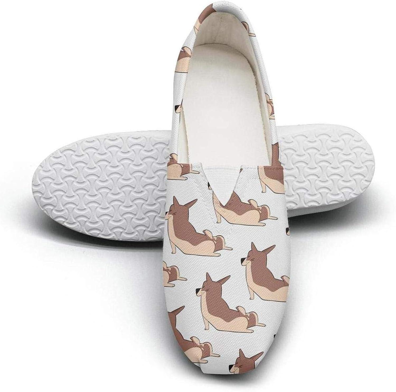 Corgi Puppies Paw Print Casual Women's Extra Light Flat Boat shoes Ladies Espadrille Flats