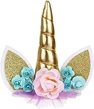 JANOU Unicorn Cake Toppers Gold Unicorn Horn Ears Silk Flower Set Cake Decoration Wedding Birthday Baby Shower Christmas Party Decoration