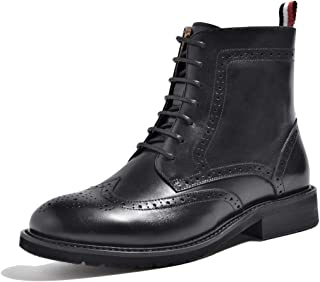 Womens Fall Winter Perforated Wingtip Brogue Leather Oxfords Ankle Boots Women Marten Booties