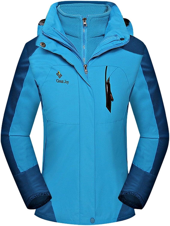 Allonly Women's Waterproof Windproof Ski Hooded Thick Keep Warm Fleece Jacket Coat