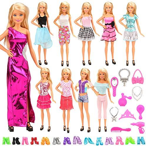 Festfun Lot 30 Pièces =10 babi Vêtements Robes de Poupée avec 10 Chaussures & 10 Accessoires pour Poupée Fille de 11,5 Pouce