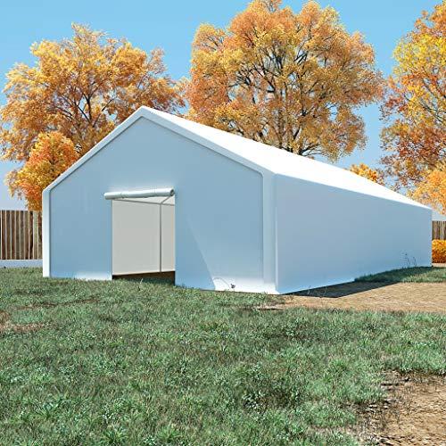 UnfadeMemory Carpa de Almacenamiento de Jardín,Carpa de Jardín,Estructura de Acero Galvanizado,PE Blanco (6x12m)