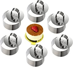 ONEDONE Cake Ring Cake Molds Stainless Steel Cake Ring Molds Pastry Rings Cake Mousse Mold Baking Molds with Pusher,3.15in...