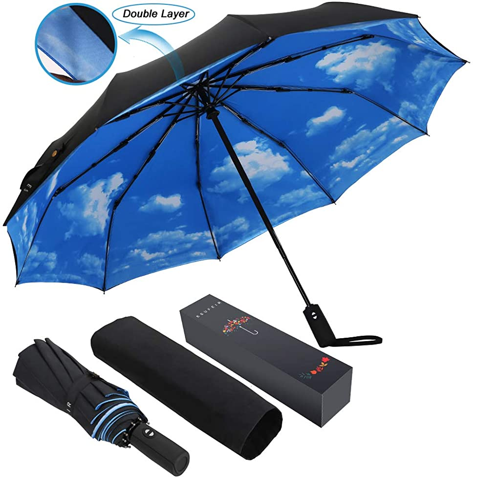 10 Ribs Umbrella,Large Travel Umbrella, Windproof Umbrella, Compact Auto Open Close Umbrella with Double Layer Design, Sturdy UV Protection Waterproof Umbrella (Blue Sky)