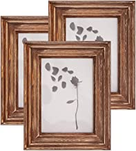 AZ L1 Life Concept Picture Frames 5x7 (Set of 3 Pack) - Rustic Farmhouse Distressed Wood Frame - Photo Frame with Glass Co...