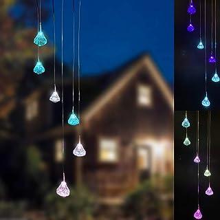 أجراس الرياح الشمسية لتزيين الحديقة وألوان متغيرة لمبة الماس أضواء الشمسية، ديكور خارجي للحديقة، الباحة، الفناء