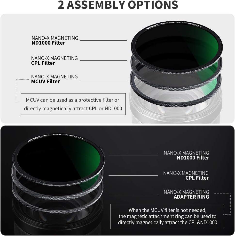 K/&F Concept Magnetic Filter Set 49mm Magnetisches Schnellwechsel System Quick Swap System MCUV+CPL+ND1000 mit Objektivadapter und Filtertasche