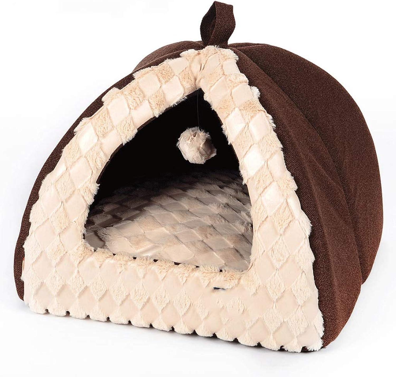 Pet Beds Mongolian Yurt Semipackable Removable Cat Litter Teddy Bear Winter Kennel Pet Supplies A+ (color   BROWN, Size   S (40X40X34CM))