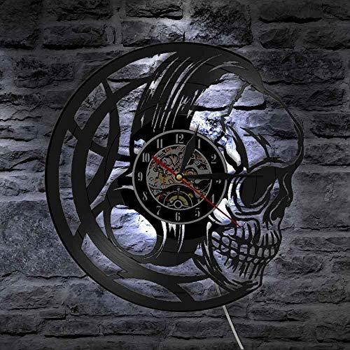 KFSG Relojes 3D Reloj de Pared con Cabeza de Calavera Negra con retroiluminación LED Auriculares Letrero Iluminado 3D Decorativo de Halloween
