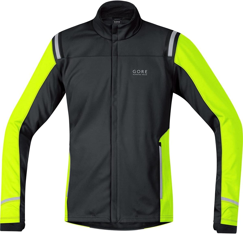 (Medium, 黒 - 黒/Neon 黄) - Gore Running Wear Mythos 2.0 Windstopper Soft Shell Men's Jacket