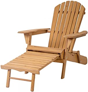 CS_SHOP Outdoor Wood Adirondack Chair Foldable w/Pull Out Ottoman Patio Furniture 240