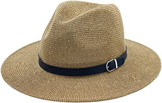 Zhhlaixing Women Vintage Wide Brim Straw Panama Style Fedora Jazz Hat Caps with Leather Band