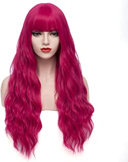 PATTNIUM 27 Inches Long Curly Wavy Wig with Neat Bangs for Women Synthetic Wigs Halloween Cosplay Party Black (Hot Pink)